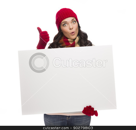 Excited Girl Holds Blank Sign and gives Thumbs Up Gesture stock photo, Excited Girl Holds Blank Sign and Gives Thumbs Up Gesture Isolated on White Background. by Andy Dean