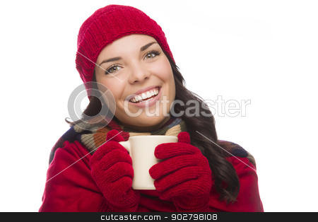 Mixed Race Woman Wearing Winter Hat and Gloves Holds Mug stock photo, Happy Mixed Race Woman Wearing Winter Hat and Gloves Holds a Mug Isolated on White Background. by Andy Dean
