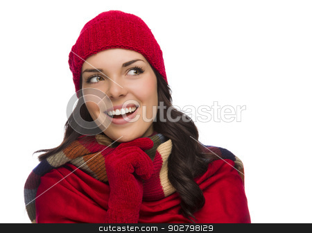 Mixed Race Woman Wearing Mittens and Hat Looks to Side stock photo, Happy Mixed Race Woman Wearing Winter Hat and Gloves Looking to the Side Isolated on White Background by Andy Dean