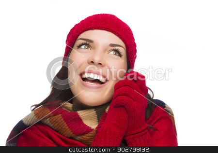 Mixed Race Woman Wearing Mittens and Hat Looks to Side stock photo, Happy Mixed Race Woman Wearing Winter Hat and Gloves Looking to the Side Isolated on White Background. by Andy Dean