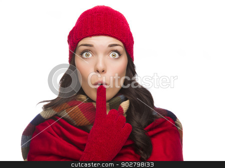 Wide Eyed Mixed Race Woman Wearing Winter Hat and Gloves  stock photo, Funny Faced Wide Eyed Mixed Race Woman Wearing Winter Hat and Gloves Isolated on White Background. by Andy Dean