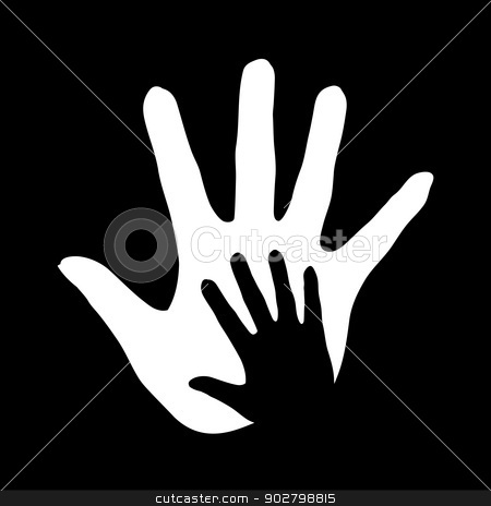 Helping hand. stock photo, Illustration of hand in hand in black-and-white colors symbolizing concept of help, assistance and cooperation. by dvarg