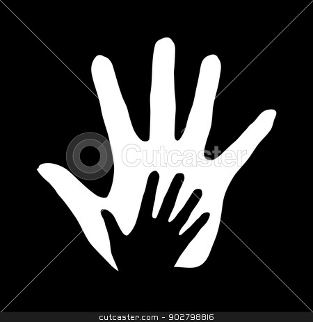 Helping hand. stock photo, Hand in hand illustration in black-and-white symbolizing concept of help, assistance and cooperation. by dvarg