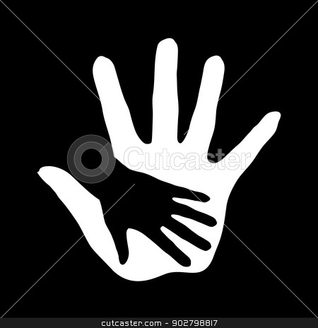 Helping hand. stock photo, Illustration of hand in hand in black-and-white. Concept of help, assistance and cooperation. by dvarg