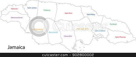 Jamaica map stock photo