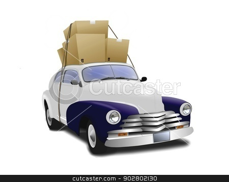 Car with Boxes on Top stock photo, Car with Boxes on Top by Mohamad Razi Bin Husin