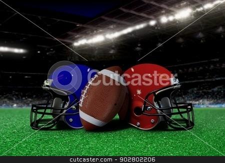 Football Equipment on the Field at Night stock photo, Football Equipment on the Field at Night by Mohamad Razi Bin Husin