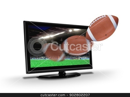 Football Flying out from  TV LCD Screen stock photo, Football Flying out from  TV LCD Screen by Mohamad Razi Bin Husin