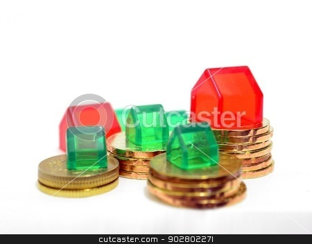 Houses and Coins Property Investment Concept stock photo, Houses and Coins Property Investment Concept by Mohamad Razi Bin Husin