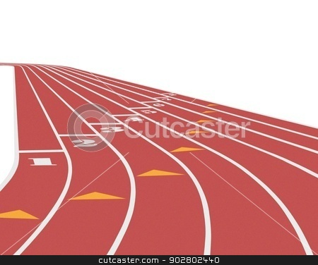 Running Track over White stock photo, Running Track over White by Mohamad Razi Bin Husin
