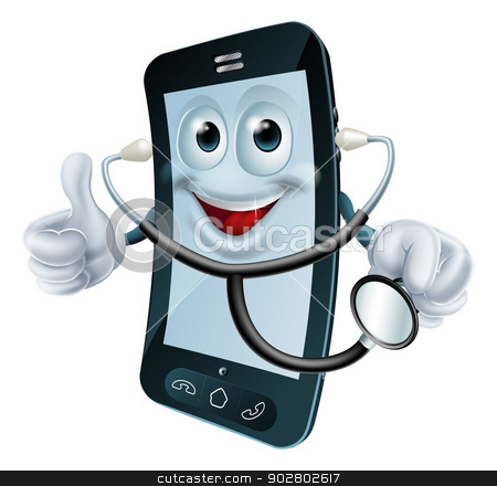 Cartoon phone character holding a stethoscope stock vector clipart, Cartoon illustration of a phone doctor character holding a stethoscope by Christos Georghiou