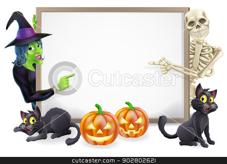 Halloween Sign with Skeleton and Witch stock vector clipart, Halloween sign or banner with orange Halloween pumpkins and black witch's cats, witch's broom stick and cartoon witch and skeleton characters  by Christos Georghiou