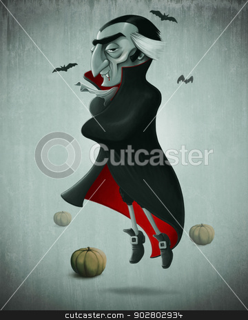 Vampire halloween stock photo, Vampire and pumpkins for halloween creepy night by Giordano Aita