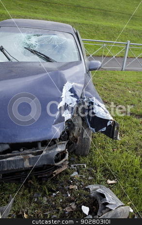 crash stock photo, car collision with a pillar lighting by mrivserg