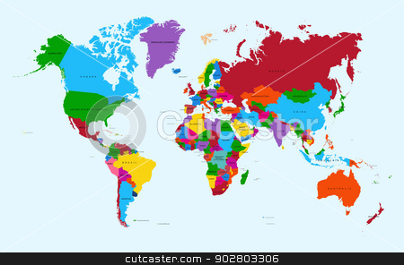 World map, colorful countries atlas EPS10 vector file. stock vector clipart, World map, colorful countries with text Atlas illustration. EPS10 vector file organized in layers for easy editing.  by Cienpies Design