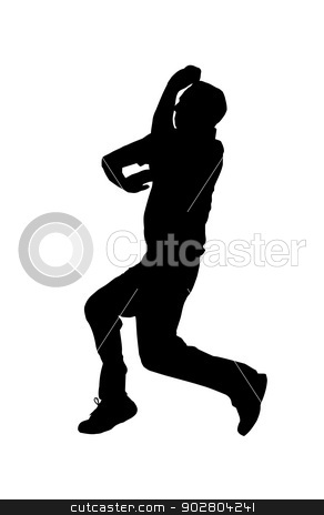 Sport Silhouette - Cricket Spin BowlerJump stock vector clipart, Sport Silhouette - Cricket Spin BowlerJumping into Air by Snap2Art