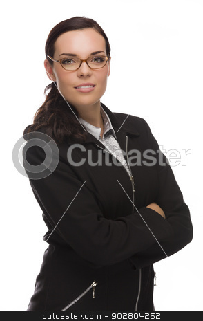 Confident Mixed Race Businesswoman Isolated on White stock photo, Mixed Race Businesswoman Isolated on White Background. by Andy Dean