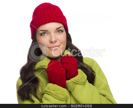 Grinning Mixed Race Woman Wearing Winter Hat and Gloves stock photo, Beautiful Mixed Race Woman Wearing Winter Hat and Gloves Isolated on a White Background. by Andy Dean
