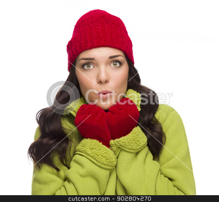 Chilly Mixed Race Woman Wearing Winter Hat and Gloves stock photo, Beautiful Mixed Race Woman Wearing Winter Hat and Gloves Isolated on a White Background. by Andy Dean