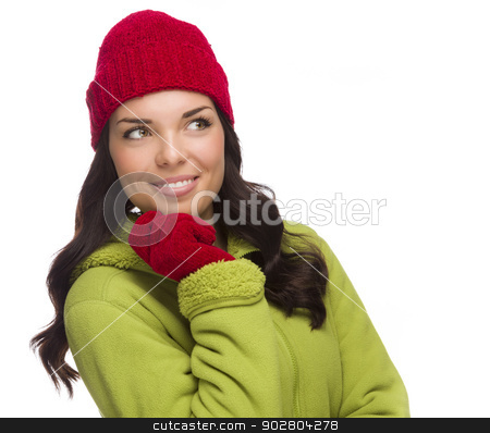 Mixed Race Woman Wearing Hat and Gloves Looking to Side stock photo, Beautiful Mixed Race Woman Wearing Winter Hat and Gloves Isolated on a White Background Looking to the Side. by Andy Dean