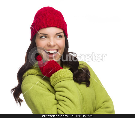 Mixed Race Woman Wearing Hat and Gloves Looking to Side stock photo, Beautiful Mixed Race Woman Wearing Winter Hat and Gloves Isolated on a White Background. by Andy Dean