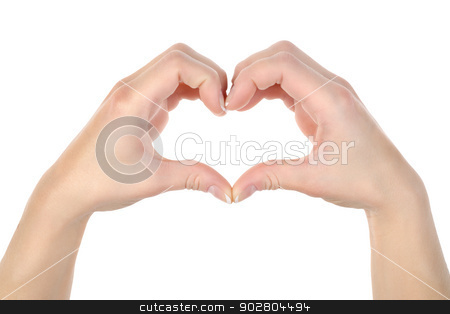 Heart shape stock photo, Love: Hands making a heat shape isolated on white background by Givaga
