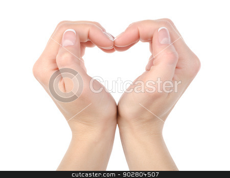 Heart shape isolated stock photo, Love: Hands making a heat shape isolated on white background by Givaga