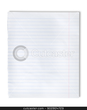 Lined paper stock photo, Lined paper isolated on a white background by Givaga