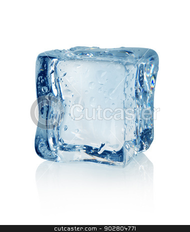 Ice cube stock photo, Ice cube isolated on a white background by Givaga