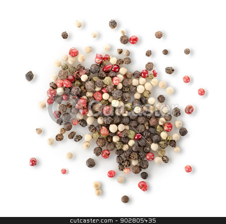 Spices of red and black pepper stock photo, Spices of red and black pepper isolated on white background by Givaga