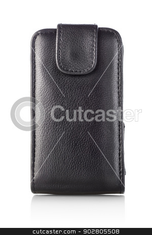 Black case for mobile stock photo, Case for mobile phone isolated on a white background by Givaga