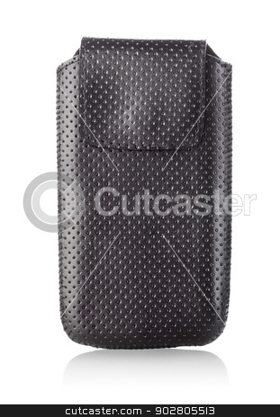 Bag for mobile phone stock photo, Case for mobile phone isolated on white background by Givaga