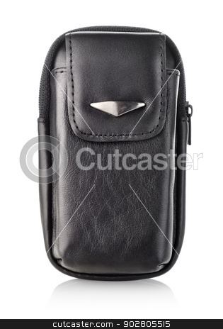 Black bag for mobile phone stock photo, Case for mobile phone isolated on white background by Givaga