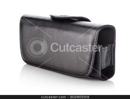 Black bag for mobile stock photo, Case for mobile phone isolated on white background by Givaga