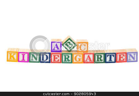 Baby blocks spelling Kindergarten stock photo, Baby blocks spelling kindergarten. Isolated on a white background. by Richard Nelson