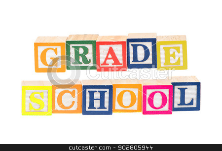 Baby blocks spelling grade school stock photo, Baby blocks spelling grade school. Isolated on a white background. by Richard Nelson