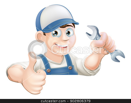 Spanner man over sign thumbs up stock vector clipart, A plumber or mechanic holding a wrench or spanner and giving a thumbs up while peeking over a sign or banner by Christos Georghiou