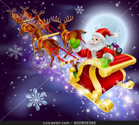 Christmas Santa flying in his sled or sleigh stock vector clipart, Christmas cartoon illustration of Santa Claus flying in his sled or sleigh through the night sky with moon in the background   by Christos Georghiou