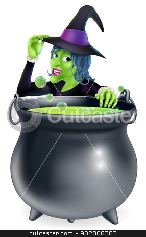 Halloween Witch and Cauldron stock vector clipart, A cartoon witch saying hello peeking over a bubbling witch's brew in a big cauldron  by Christos Georghiou