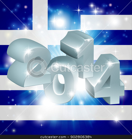 2014 Greek flag stock vector clipart, Flag of Greece 2014 background. New Year or similar concept by Christos Georghiou