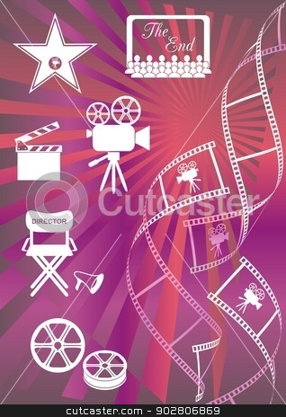 Movie background stock vector clipart, Shiny colored movie background with curl film stripes and movie icons by blumer