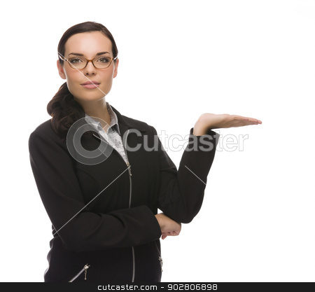 Confident Mixed Race Businesswoman Gesturing with Hand to the Si stock photo, Confident Mixed Race Businesswoman Gesturing with Hand to the Side Isolated on a White Background.  by Andy Dean