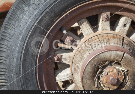 Old Rusty Antique Tire Abstract stock photo, Old Rusty Antique Tire Abstract in a Rustic Outdoor Setting.  by Andy Dean
