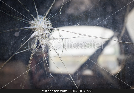 Cracked Window Glass on Antique Truck Abstract stock photo, Abstract Cracked Window Glass on Antique Truck with Selective Focus.  by Andy Dean
