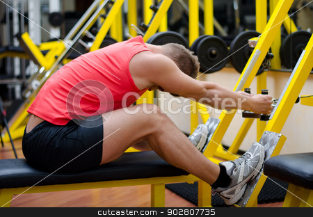 Handsome young man working out on gym equipment stock photo, Attractive and fit young man in gym working out, doing pulley and exercising on equipment by Stefano Cavoretto