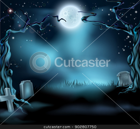 Spooky Halloween Background Scene stock vector clipart, A spooky scary Halloween background scene with full moon, graves and scary trees by Christos Georghiou