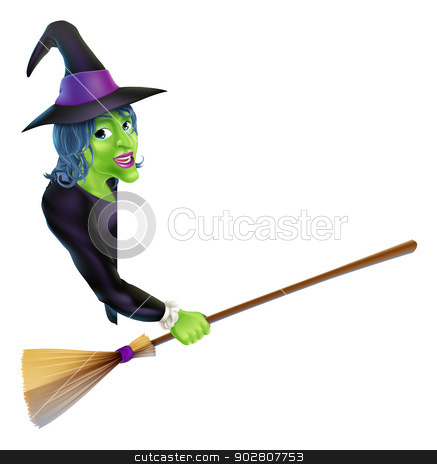 Halloween Witch Pointing with Broom stock vector clipart, An illustration of a Halloween witch leaning round a banner or sign and pointing with her broom by Christos Georghiou