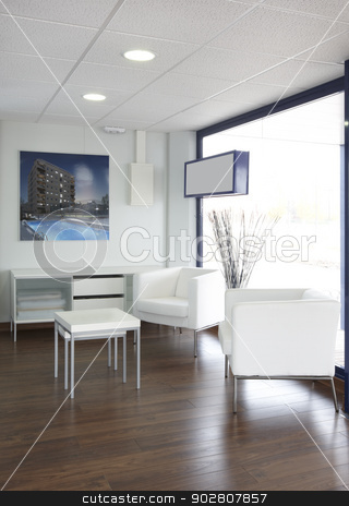 Waiting room stock photo, Cool modern waiting room medical office vertical by ABBPhoto