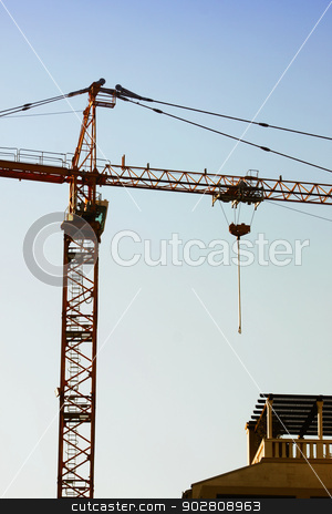 Construction crane stock photo, Detail of construction site with tall crane by vaximilian