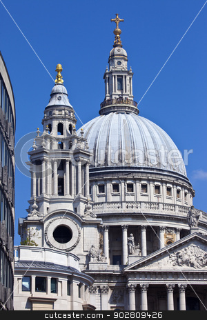 St. Pauls Cathedral in London stock photo, The dome and one of the towers of St. Pauls Cathedral. by Chris Dorney